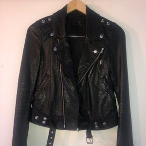 Black leather Motorcycle Jacket - BLK DNM